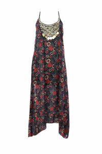 Womens Petite Floral Print Hanky Hem Dress - Black - 4, Black