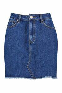 Womens Tall Fray Hem Denim Skirt - blue - 6, Blue