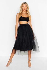 Womens Tulle Longer Length Midi Skirt - Black - 8, Black