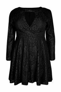 Womens Plus Lace Skater Dress - black - 26, Black