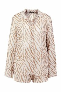 Womens Tiger Shirt & Short Beach Co-Ord - brown - M, Brown