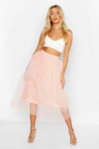 Womens Tulle Longer Length Midi Skirt - Pink - 14, Pink