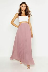 Womens Chiffon Pleated Maxi Skirt - Beige - 8, Beige