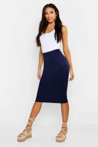 Womens Basic Jersey Midi Skirt - Navy - 8, Navy