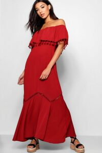 Womens Off The Shoulder Tassel Trim Maxi Dress - Red - 16, Red