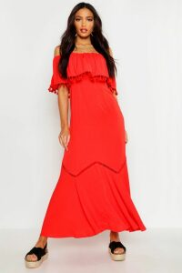 Womens Off The Shoulder Tassel Maxi Dress - Red - 16, Red