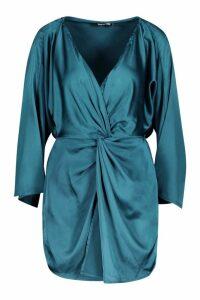 Womens Satin Print Twist Front Mini Dress - green - 12, Green
