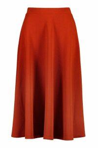 Womens Crepe Skater Midi Skirt - Orange - 10, Orange
