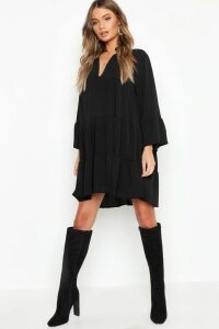 Womens Woven Tiered Smock Dress - Black - 16, Black