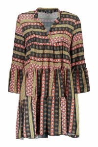 Womens Boho Mixed Print Smock Dress - red - 16, Red