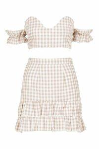 Womens Woven Gingham Twist Top + Skirt Co-Ord - cream - 6, Cream