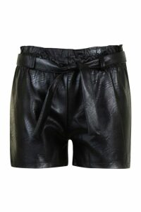 Womens Leather Look Paperbag Shorts - Black - 8, Black