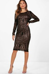 Womens Boutique Sequin And Mesh Midi Dress - Black - 12, Black