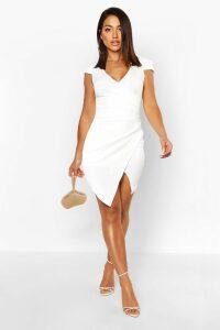Womens Cap Sleeved Wrap Detail Bodycon Dress - white - 8, White