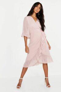 Womens Dobby Chiffon Wide Sleeve Midi Wrap Dress - Pink - 16, Pink