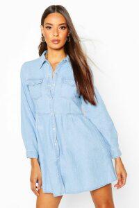 Womens Long Sleeve Denim Shirt Dress - Blue - 6, Blue