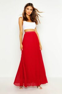 Womens Chiffon Pleated Maxi Skirt - Red - 6, Red