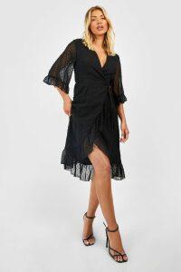 Womens Dobby Chiffon Wide Sleeve Midi Wrap Dress - black - 12, Black