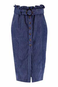 Womens Cord Paperbag Button Midi Skirt - blue - 14, Blue