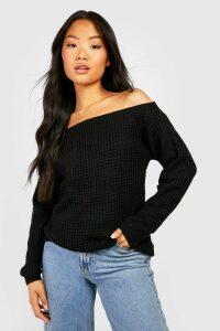 Womens Petite Waffle Knit Off The Shoulder Jumper Dress - black - S, Black