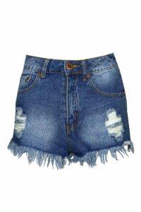 Womens High Waist Ripped Denim Shorts - Blue - 16, Blue