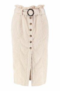 Womens Cord Paperbag Button Midi Skirt - cream - 14, Cream