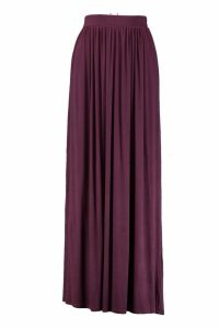 Womens Basic Floor Sweeping Jersey Maxi Skirt - red - 16, Red