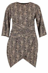 Womens Plus Zebra Kimono Tie Waist Wrap Dress - black - 22, Black