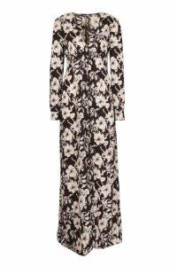 Womens Tall Floral Print Maxi Dress - black - 16, Black
