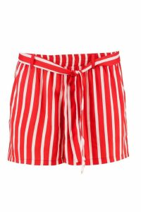 Womens Ava Striped Tie Belt Shorts - Red - 16, Red