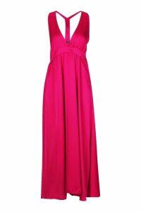 Womens Satin Plunge Halter Neck Maxi Dress - Pink - 8, Pink