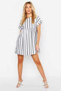 Womens Linen Look Stripe Smock Dress - Grey - 16, Grey