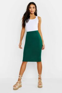 Womens Basic Jersey Midi Skirt - green - 16, Green
