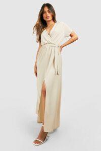 Womens Wrap Maxi Dress - Beige - 8, Beige