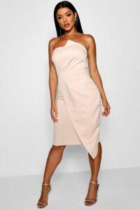Womens Zoey Bandeau Wrap Detail Midi Dress - Pink - 16, Pink