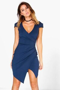 Womens Cap Sleeved Wrap Detail Bodycon Dress - Navy - 6, Navy