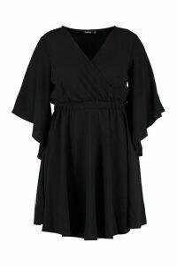 Womens Plus Kimono Sleeve Woven Skater Dress - black - 16, Black