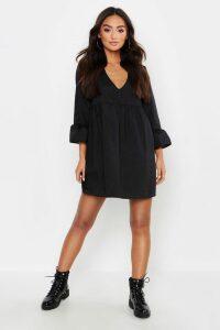 Womens Petite V Neck Smock Dress - Black - 8, Black