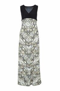 Womens Petite Snake Print Maxi Dress - black - 4, Black