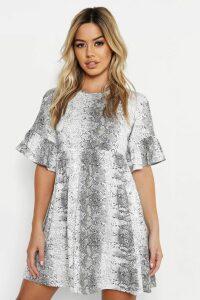 Womens Petite Snake Print Ruffle Smock Dress - Grey - 12, Grey