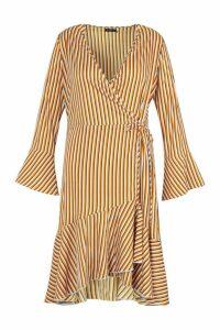 Womens Plus Flare Stripe Midi Dress - yellow - 16, Yellow