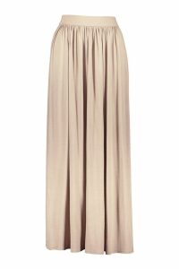 Womens Petite Floor Sweeping Jersey Maxi Skirt - Beige - 14, Beige