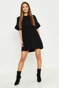 Womens Petite Ribbed Frill Sleeve Smock Dress - Black - 14, Black