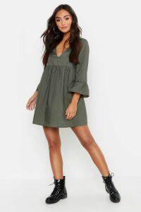 Womens Petite V Neck Smock Dress - Green - 12, Green