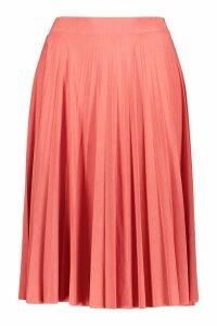 Womens Petite Slinky Pleated Midi Skirt - Pink - 8, Pink
