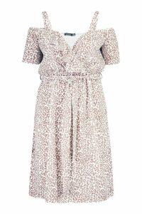Womens Plus Belted Ruffle Leopard Print Midi Dress - brown - 20, Brown