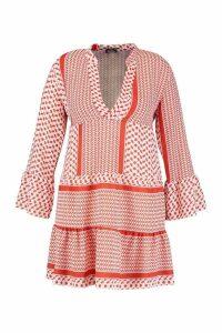 Womens Plus Tribal Print Smock Dress - Orange - 20, Orange