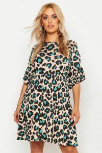 Womens Plus Leopard Print Smock Dress - White - 20, White