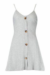 Womens Petite Ribbed Button Swing Dress - Grey - 12, Grey