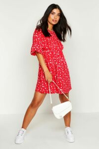 Womens Petite Ditsy Floral Smock Dress - Red - 16, Red